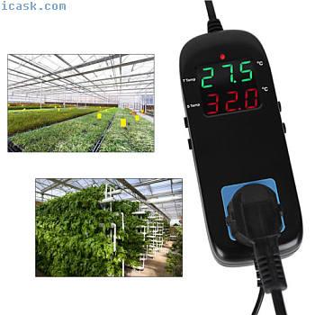 AC 220V 10A LCD数字温度控制器温控器LCD EU插头OB