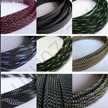 颜色扩展编织密集PET套管电缆3编织高密度音频Diy