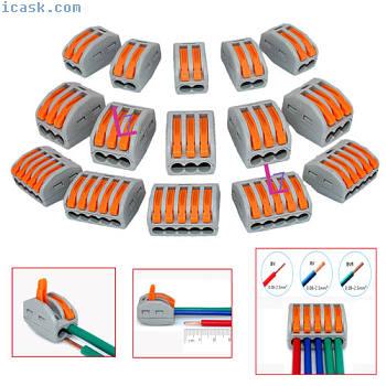 2/3/5方式 - 可重复使用的弹簧杆接线盒电缆连接器导线