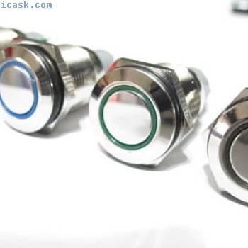 12V金属按下按钮LED开关瞬间/锁定16-19毫米角度的眼睛LED