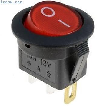 红色发光LED圆形翘板开关汽车仪表板汽车12V单刀单掷