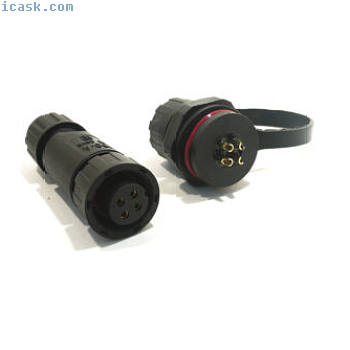 IP68防水短路面板安装焊接10A M14连接器w盖帽[190A-4P-PM]