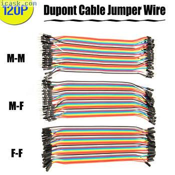 120Pc 20CM杜邦电缆MM + MF + FF跳线连接2.54MM 1p-1p引脚