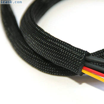 编织套管 - 编织电缆线束织机保护 - 黑色