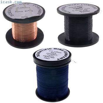 40  -  29AWG(0.08-0.28mm)铜可焊漆包铅笔磁钢线英国