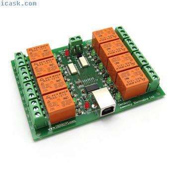 USB 8继电器(开关)输出模块板控制器 -  12V