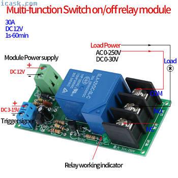 DC 12V 30A 1S?1H触发延时打开/关闭定时器控制继电器开关模块