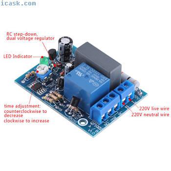 AC 220V可调定时器延时打开/关闭开关时间继电器模块PLC最新