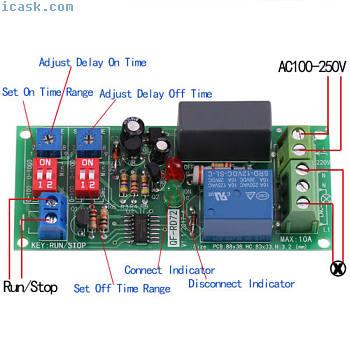 1pc AC100V-250V可调无限循环定时器延时开关继电器模块