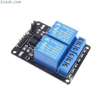5pcs 5V 2双通道继电器模块带光电耦合器,用于Arduino PIC ARM DSP AVR