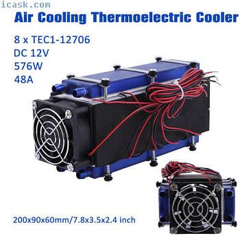 12V 576W 8芯片TEC1-12706 DIY热电冷却器冷却风扇