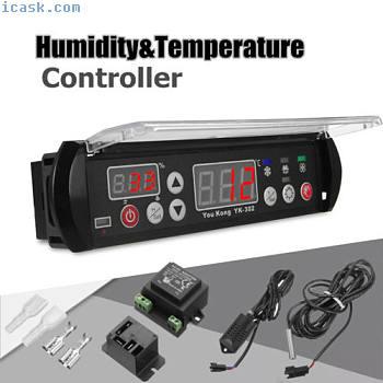 YK-302 12V数字温度湿度控制器温控湿度传感器