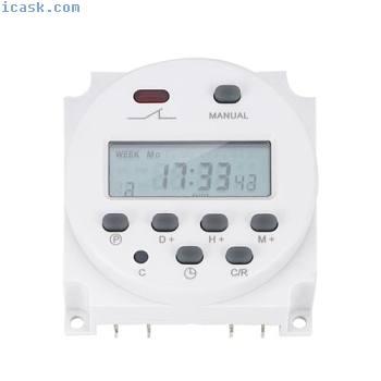 新型LCD数字电源可编程定时器AC 12V 16A 4.4VA时间继电器开关GW