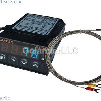 通用1 / 32DIN数字PID温度控制器,带K型热电偶的蓝色