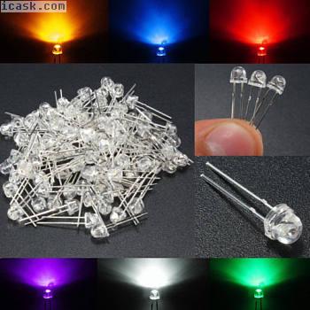 100pcs 5mm白色黄色红色蓝色紫色草帽发光LED二极管灯套件
