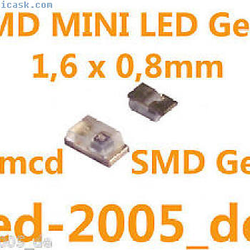 60 x SMD微型LED Gelb 1,6 x 0,8mm 30mcd,Mini LED Gelb SMD,