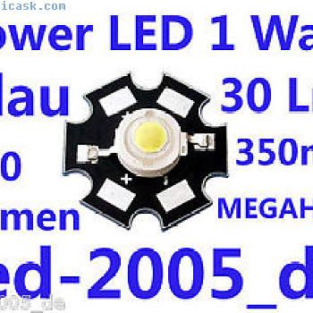 5 x星级功率LED 1瓦30 Lumen Blau,美佳威,星光功率LED BLAU 1瓦特