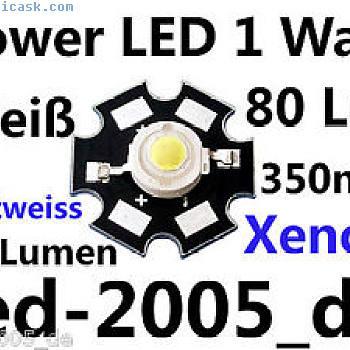 5 x星级功率LED 1瓦80流明白色,巨星,星光功率LED白色1瓦特