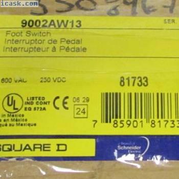 SQUARE D 9002 AW13 250 VDC 600 VAC HD脚踏开关9002AW13