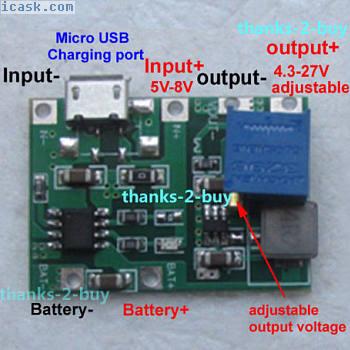 USB 3.7V锂离子电池充电器模块4.2V升压5V 9V 12V 24V