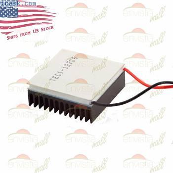 带有散热器套件的12V 60W热电冷却器TEC Peltier模块TEC1-12706