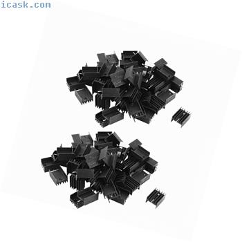 100个21x15x10mm的TO-220晶体管黑色铝制散热器