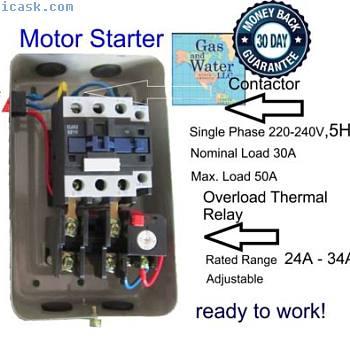 磁性启动器控制5 HP单相220240V 24-34A +关闭按钮