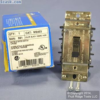 立维腾电动机起动器TPST拨动开关断开额定40A 600V MS403盒装