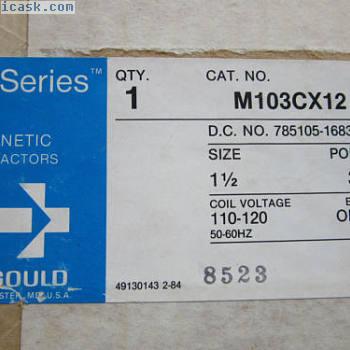 Gould M103CX12磁性接触器3极尺寸1-12线圈120V新!