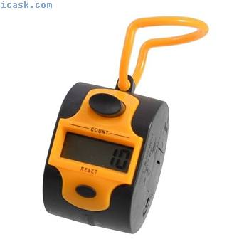 Orange Black Plastic 5 Number Golf Digital Hand Tally Counter Y1T4