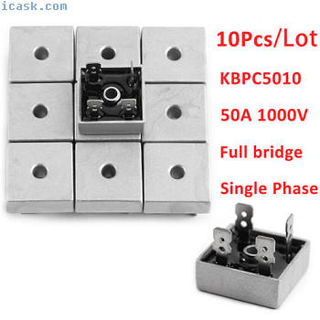 10x KBPC5010 4 Pin Soldering Metal Singel Phase Bridge Rectifier 1000 Volt 50Amp
