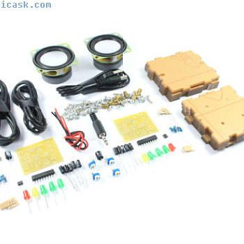 Transparent Mini Speaker Set DIY 2 x 3W Unsoldered SMD Soldering Flux Workshop
