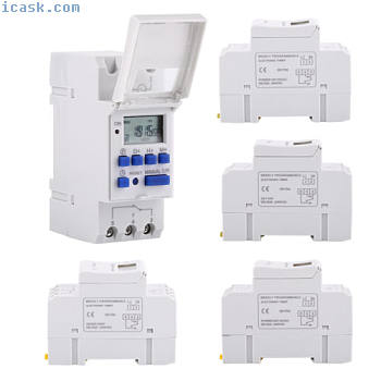AHC15A DIN Rail Mounting Digital Programmable Timer Switch 12V/24V 110V/220V oe