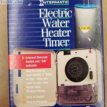 Intermatic Electric Water Heater Timer - Double Pole 25 Amp Beige Csa Boxed WH21