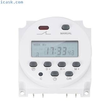 New LCD Digital Power Programmable Timer AC 12V 16A 4.4VA Time Relay Switch GL