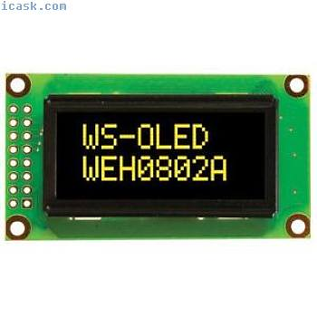 Winstar WEH000802A 8x2 OLED Display, Yellow