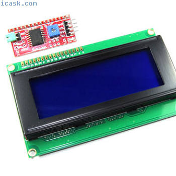 20x4 Blue LCD with Funduino I2C Interface MB-063 2004A HD44780 Flux Workshop