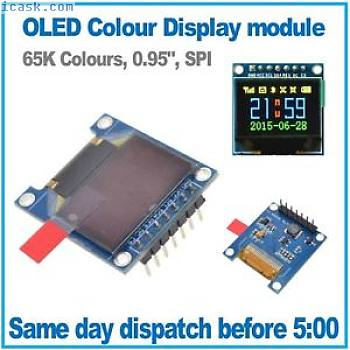 "OLED Colour Display. RGB 65K colours, SPI Interface, 0.95"", 96 x 64. Arduino Rpi"
