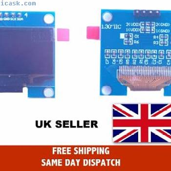 "1.30"" 128x64 White OLED Display with I2C interface For Arduino-Pi"