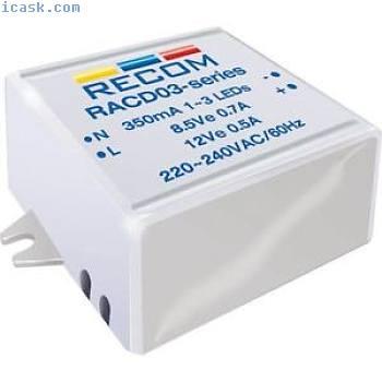 Recom Lighting 21000128 3w AC-DC LED Suministro Eléctrico 3-12v 350ma
