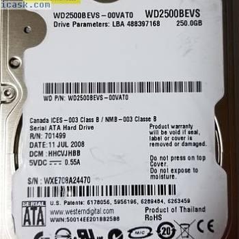 Western Digital 250GB WD2500BEVS-00VAT0 DCM: HHCVJHBB