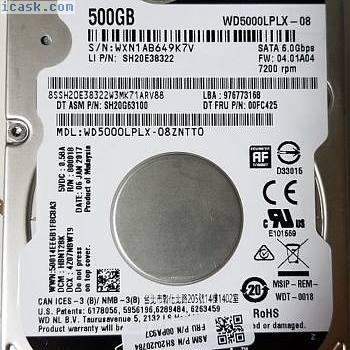 Western Digital 500GB WD5000LPLX-08ZNTT0 DCM: HBNT2BW